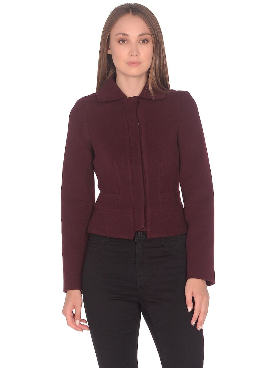 Женское демисезонное пальто hr-037 бордовое фото-2