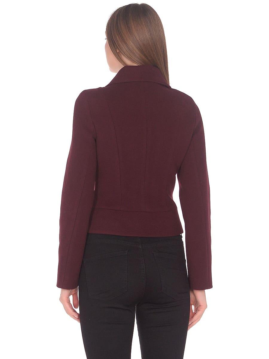 Женское демисезонное пальто hr-037 бордовое фото-3