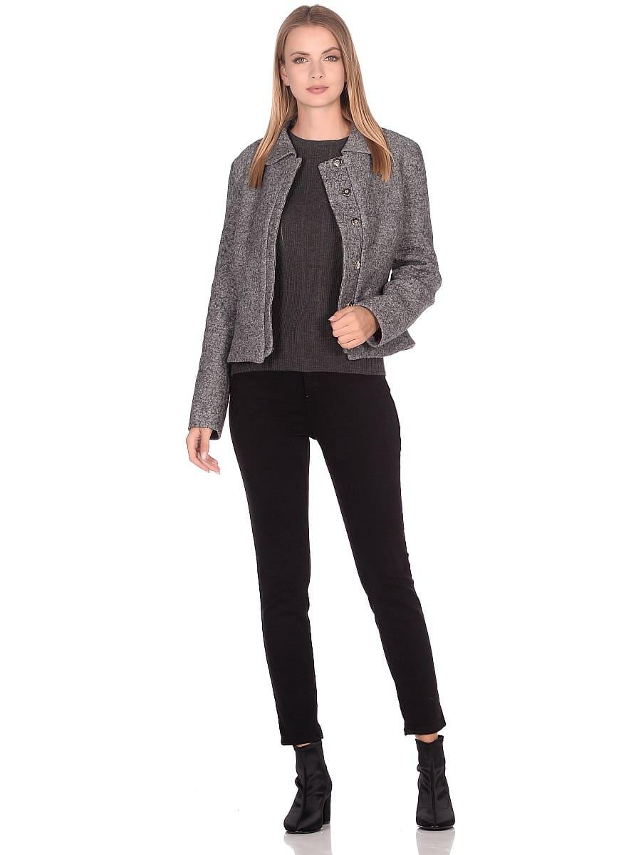 Женское демисезонное пальто hr-037 серое фото-1