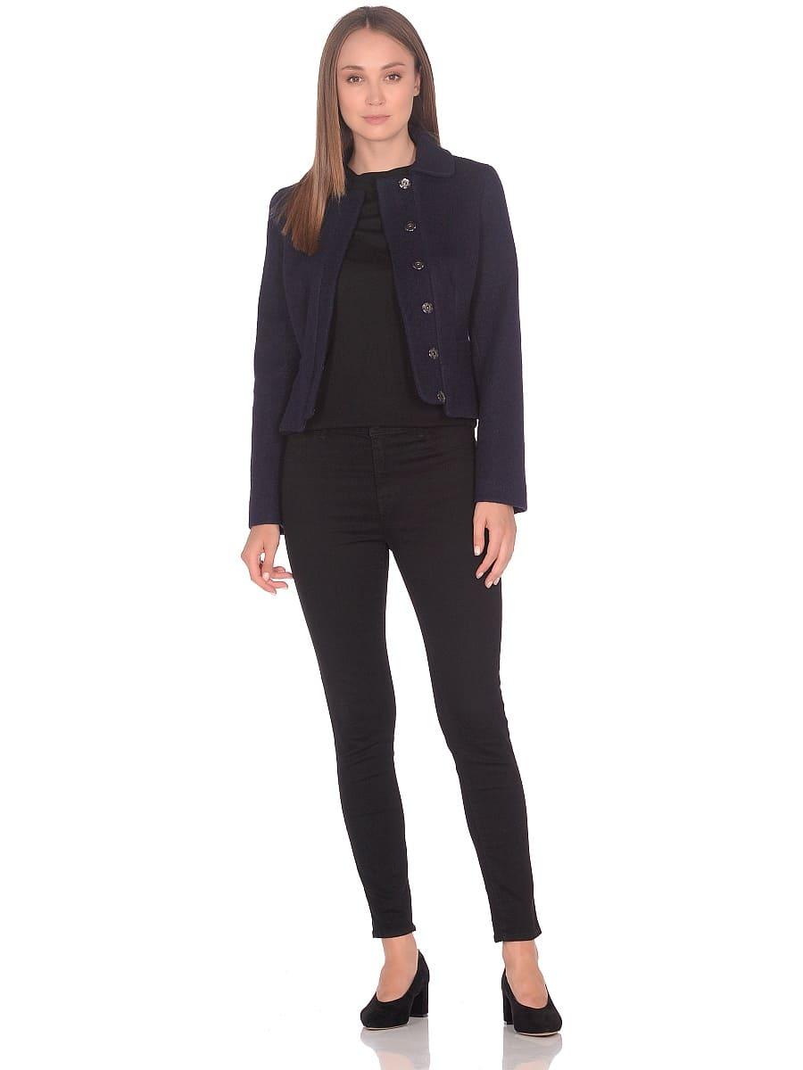 Женское демисезонное пальто hr-037 синее фото-1