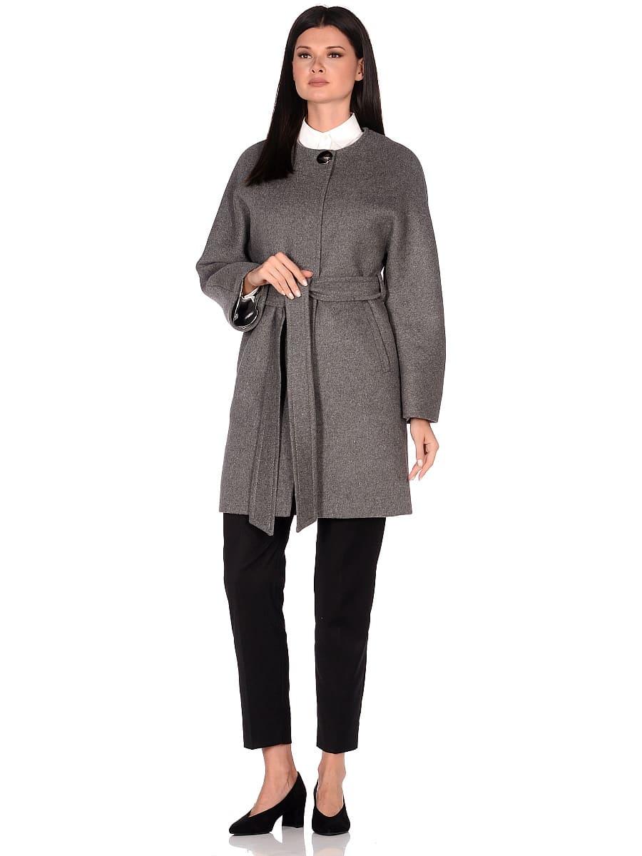 Женское демисезонное пальто hr-039 серое фото-1