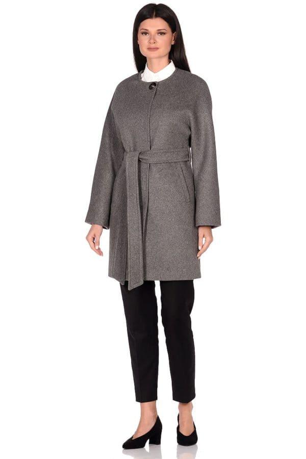 Женское демисезонное пальто hr-039A серое фото-1