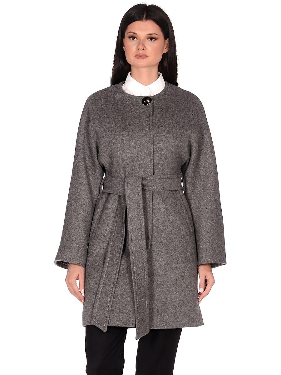 Женское демисезонное пальто hr-039A серое фото-2