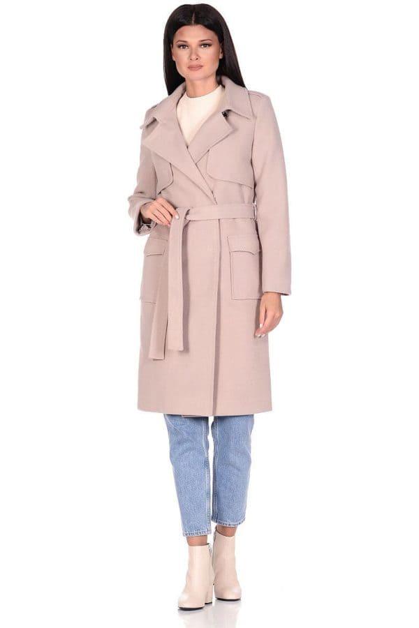 Женское демисезонное пальто hr-040 бежевое фото-1
