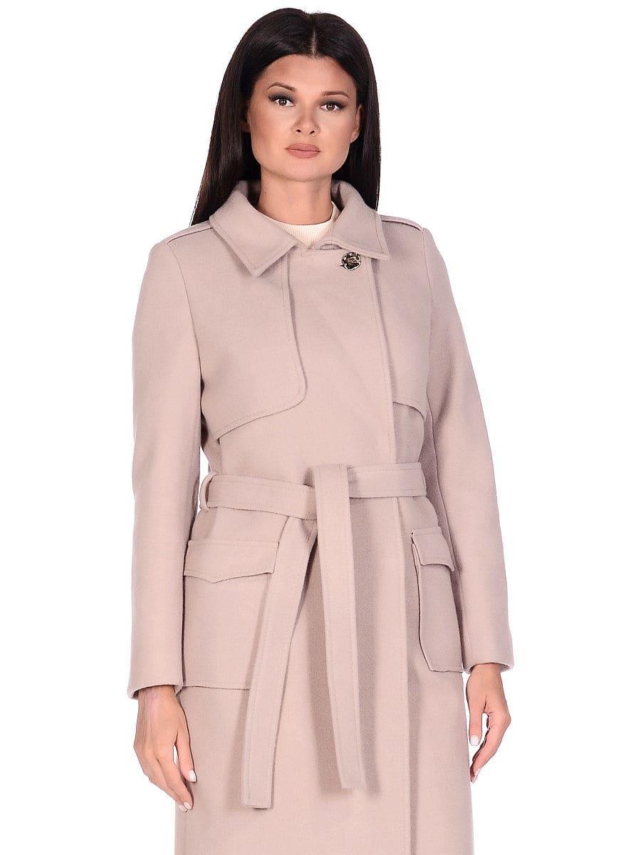 Женское демисезонное пальто hr-040 бежевое фото-2