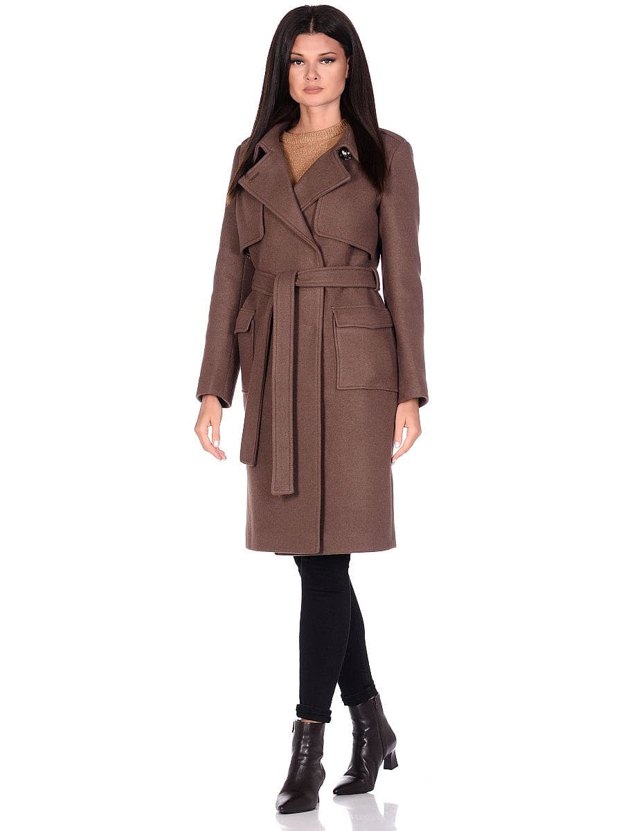 Женское демисезонное пальто hr-040 коричневое фото-1