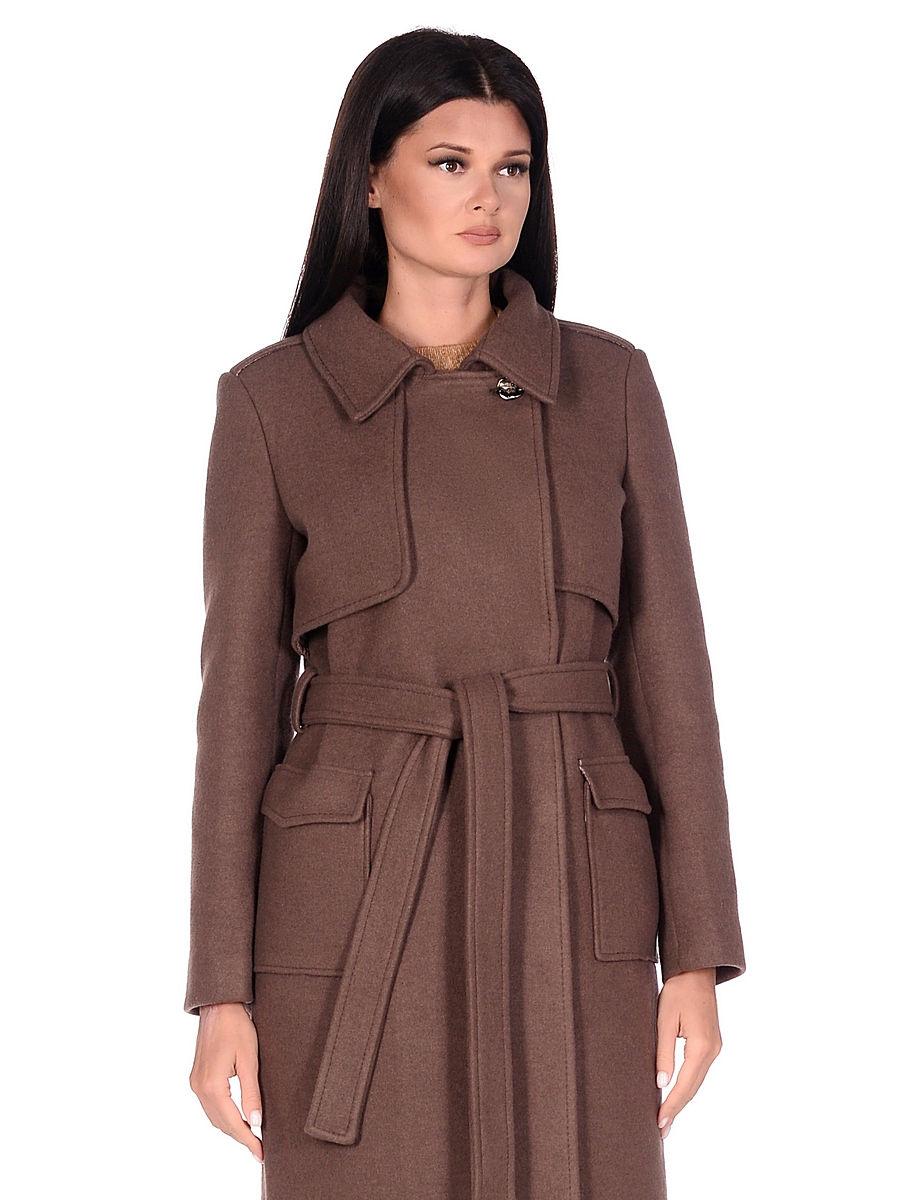 Женское демисезонное пальто hr-040 коричневое фото-2