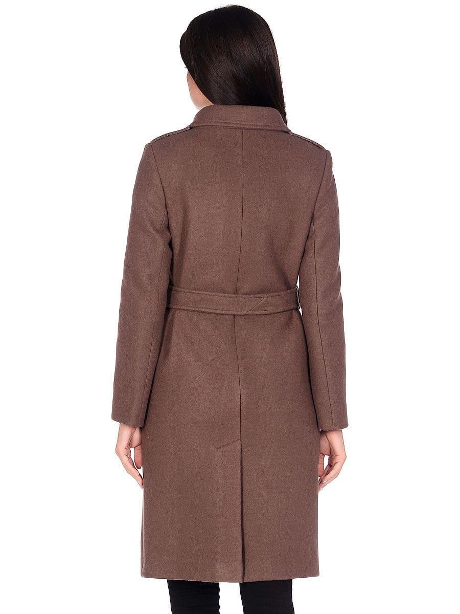 Женское демисезонное пальто hr-040 коричневое фото-3