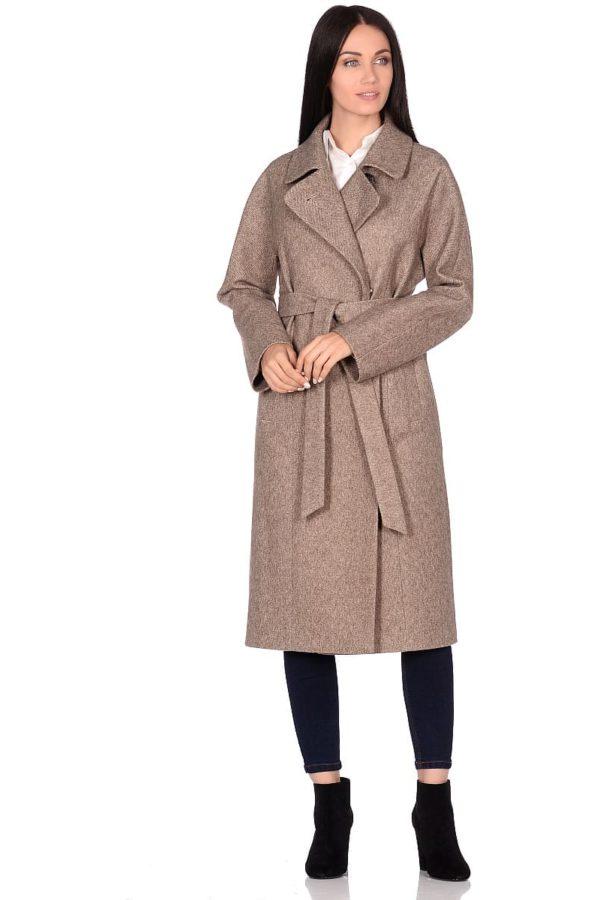 Женское демисезонное пальто hr-041 бежевое фото-1