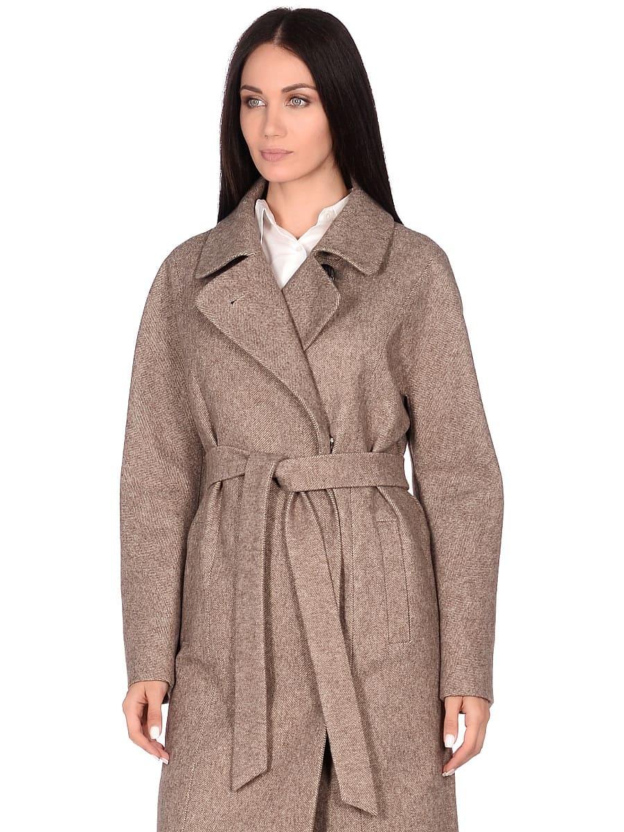 Женское демисезонное пальто hr-041 бежевое фото-2