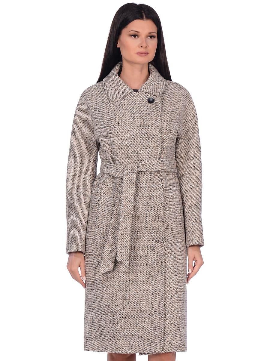 Женское демисезонное пальто hr-041 светло-бежевое фото-2