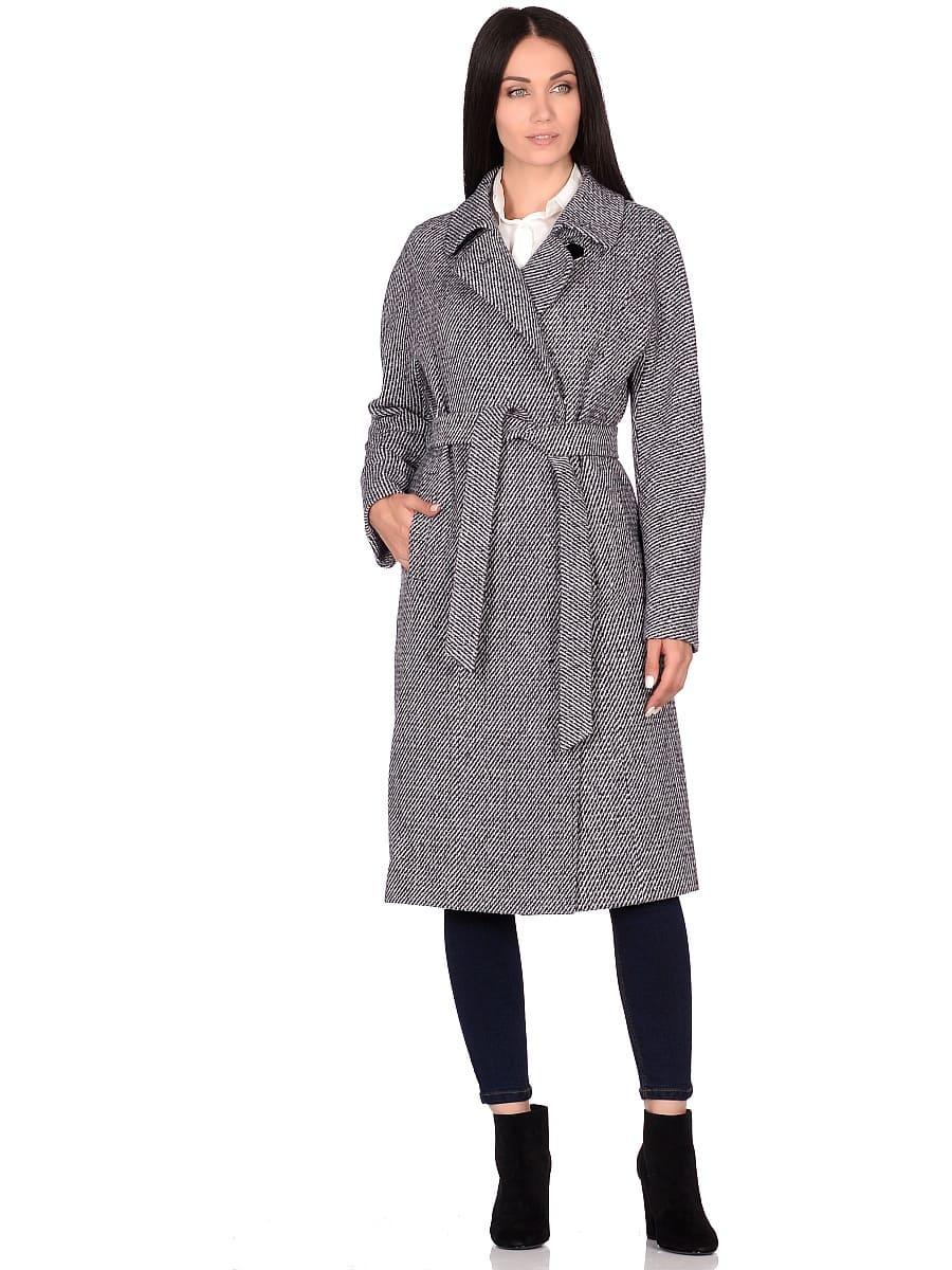 Женское демисезонное пальто hr-041 синее фото-1