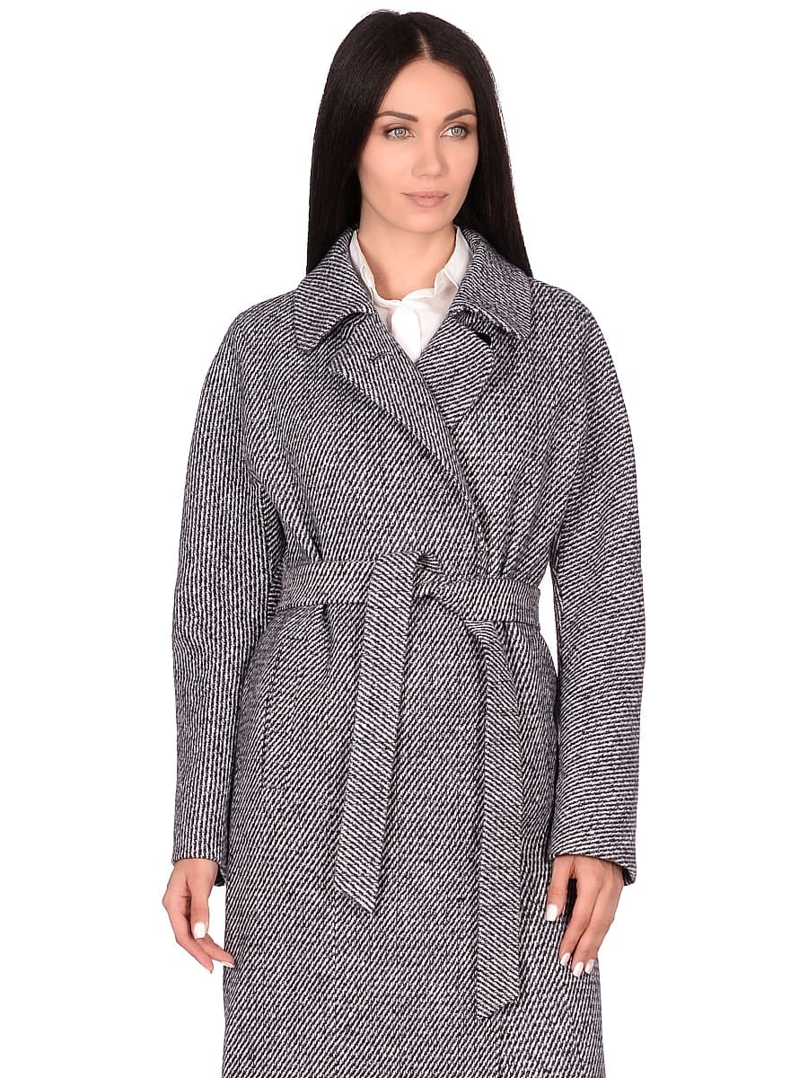 Женское демисезонное пальто hr-041 синее фото-2