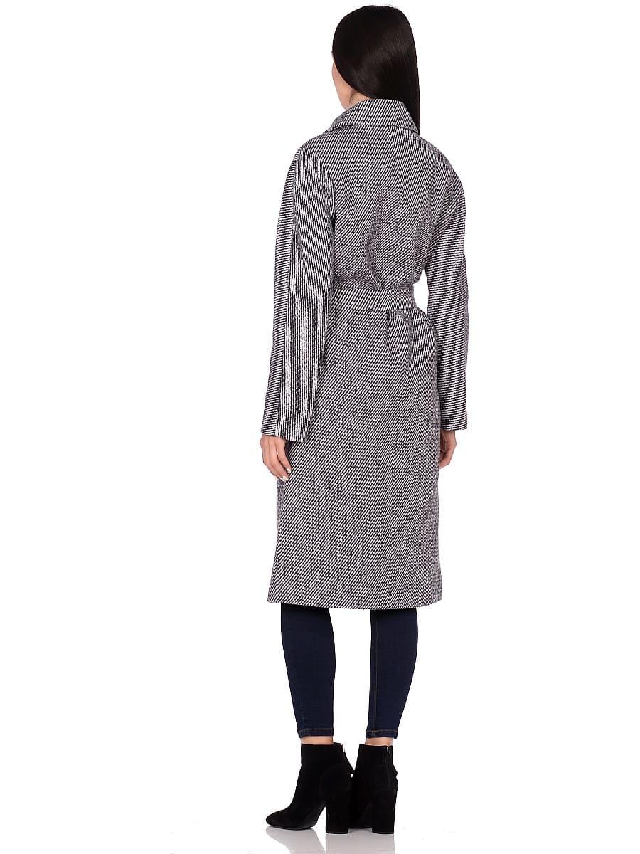Женское демисезонное пальто hr-041 синее фото-3
