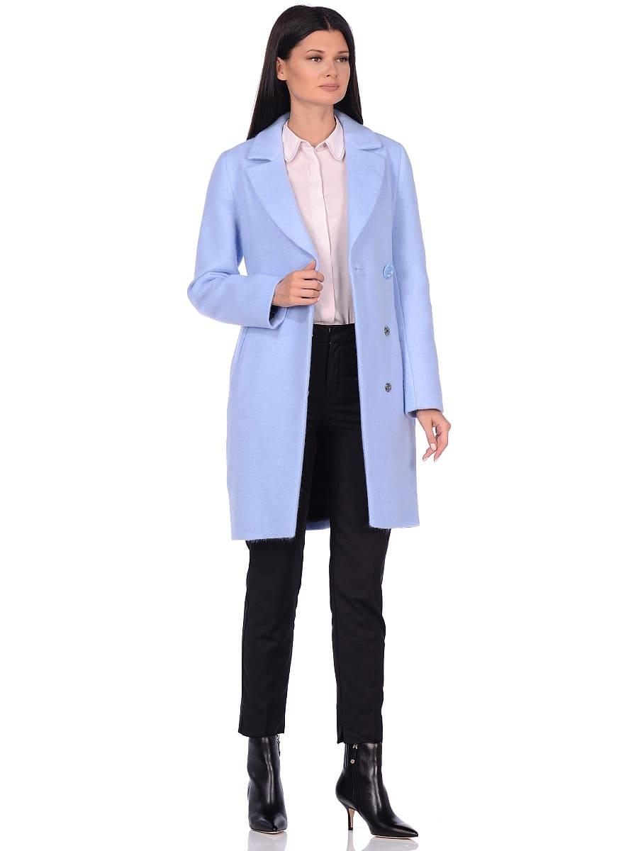 Женское демисезонное пальто hr-043 голубое фото-1