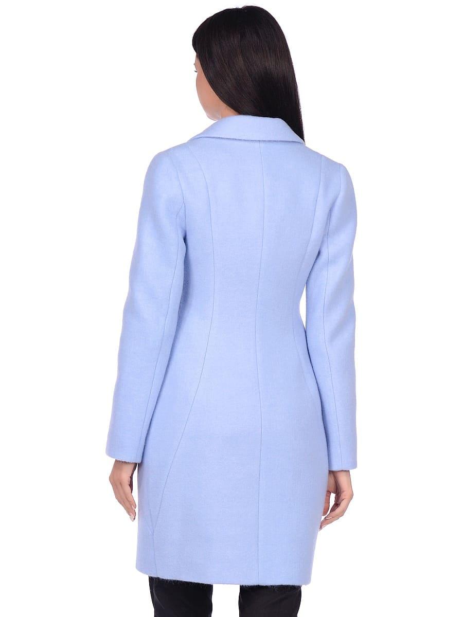 Женское демисезонное пальто hr-043 голубое фото-3