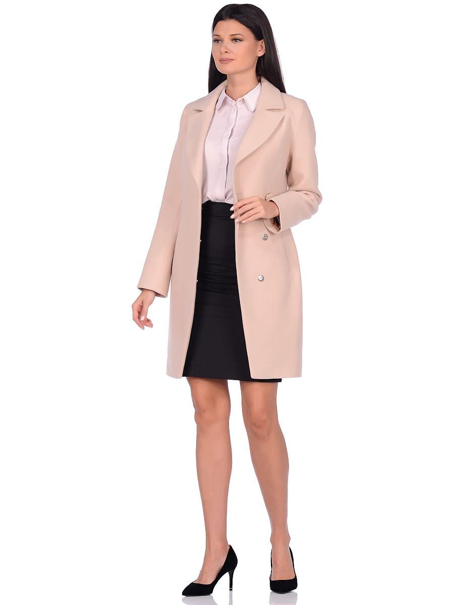 Женское демисезонное пальто hr-043 светло-бежевое фото-1