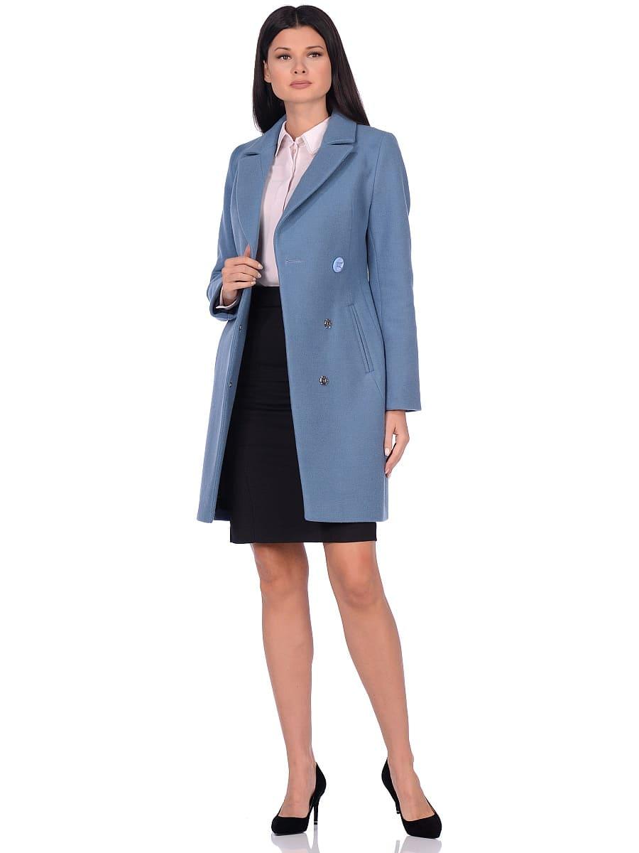 Женское демисезонное пальто hr-043 синее фото-1