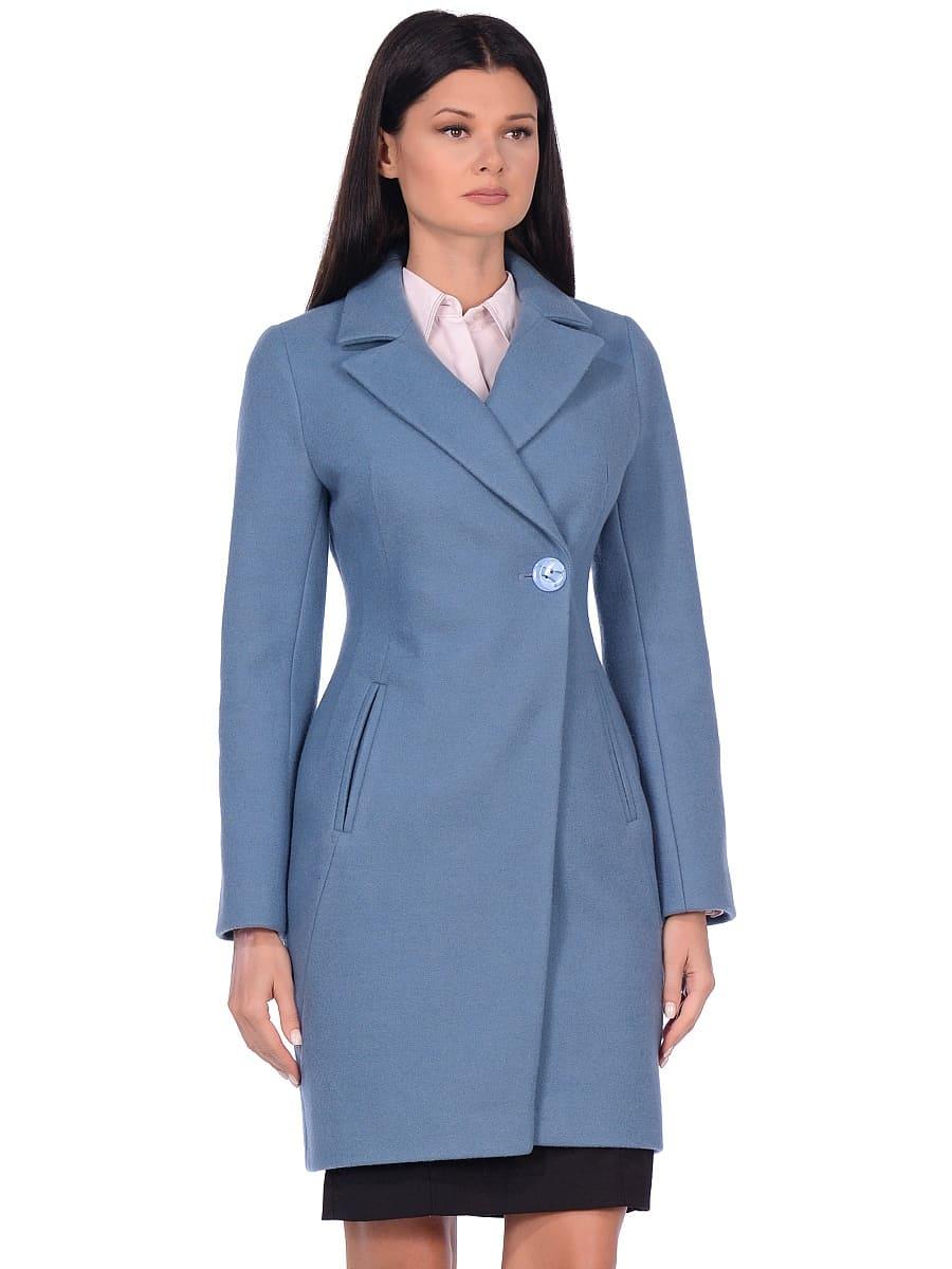 Женское демисезонное пальто hr-043 синее фото-2
