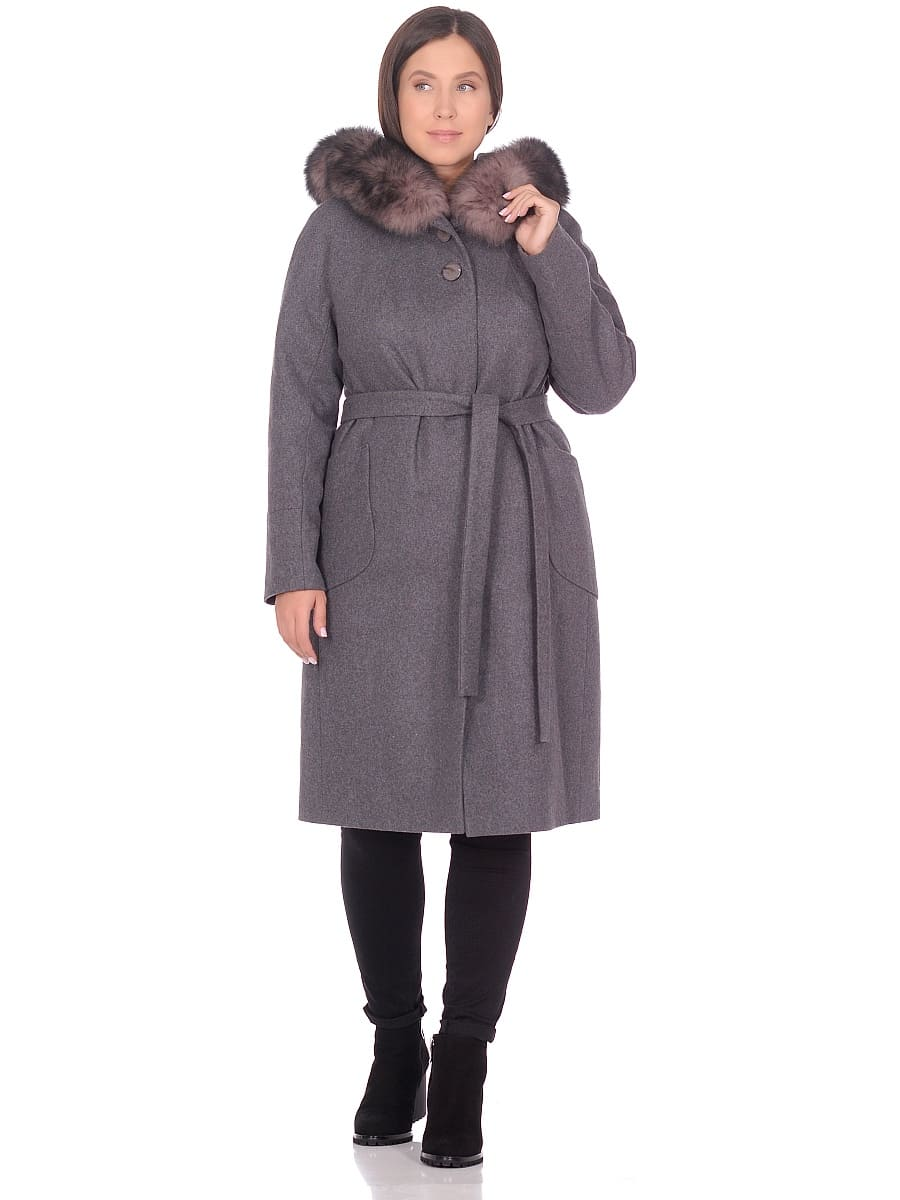 Женское зимнее пальто hr-1008 серое фото-1