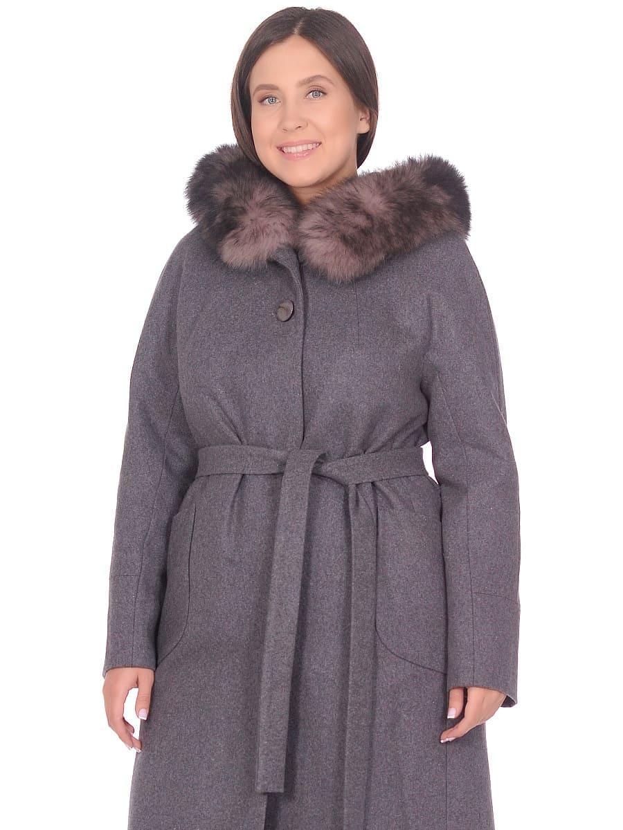 Женское зимнее пальто hr-1008 серое фото-2