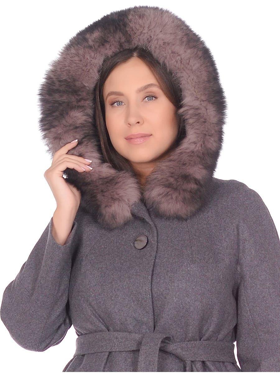 Женское зимнее пальто hr-1008 серое фото-4