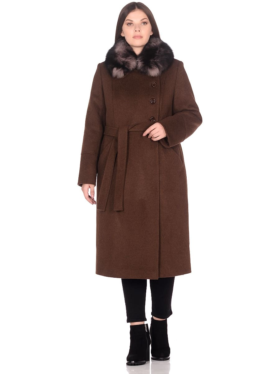 Женское зимнее пальто hr-1010 коричневое фото-1