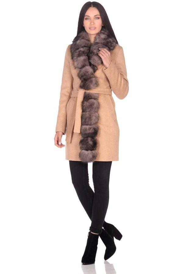 Женское зимнее пальто hr-1011 песочное фото-1