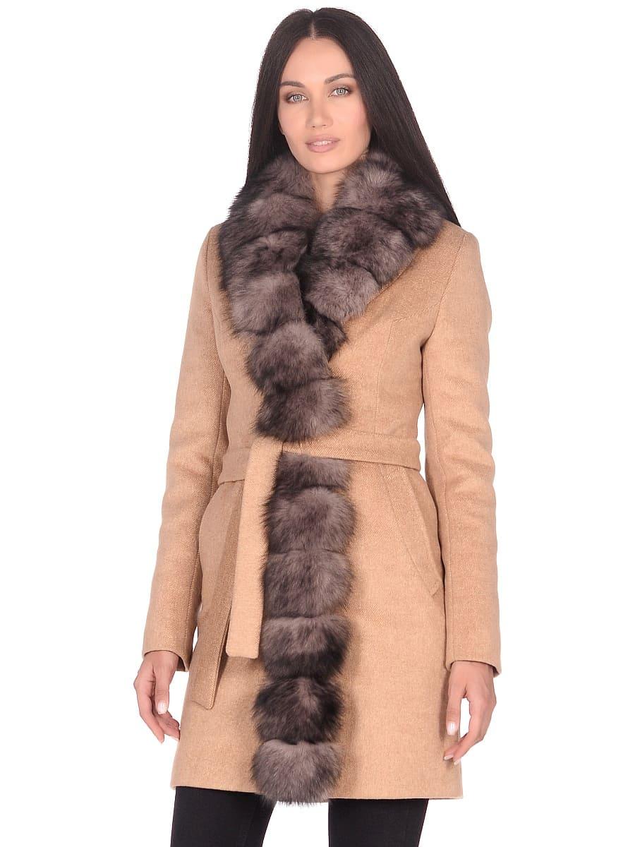 Женское зимнее пальто hr-1011 песочное фото-2