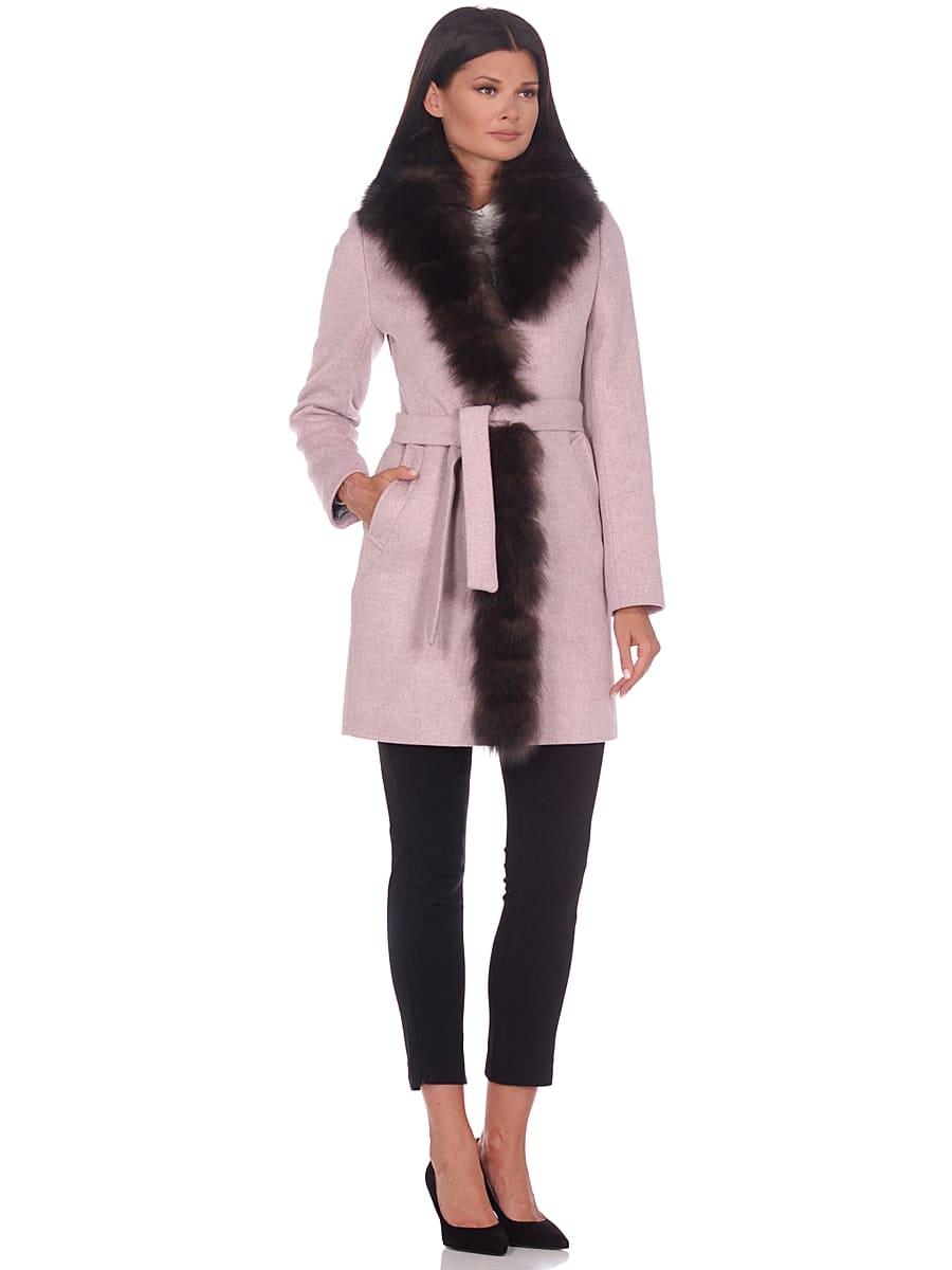 Женское зимнее пальто hr-1011 бледно-розовое фото-1