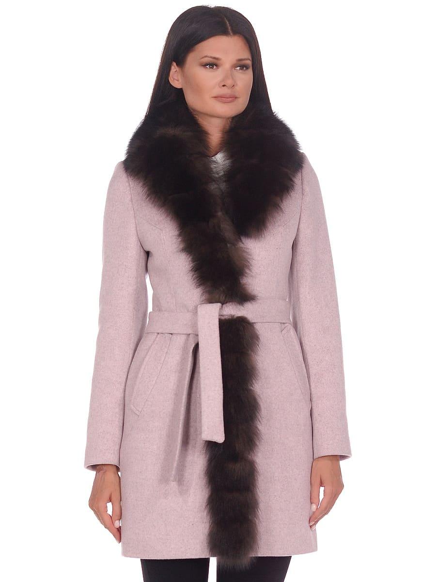 Женское зимнее пальто hr-1011 бледно-розовое фото-2