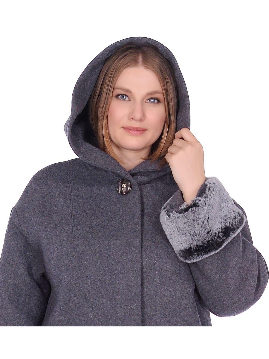Женское зимнее пальто hr-1012 серое фото-4