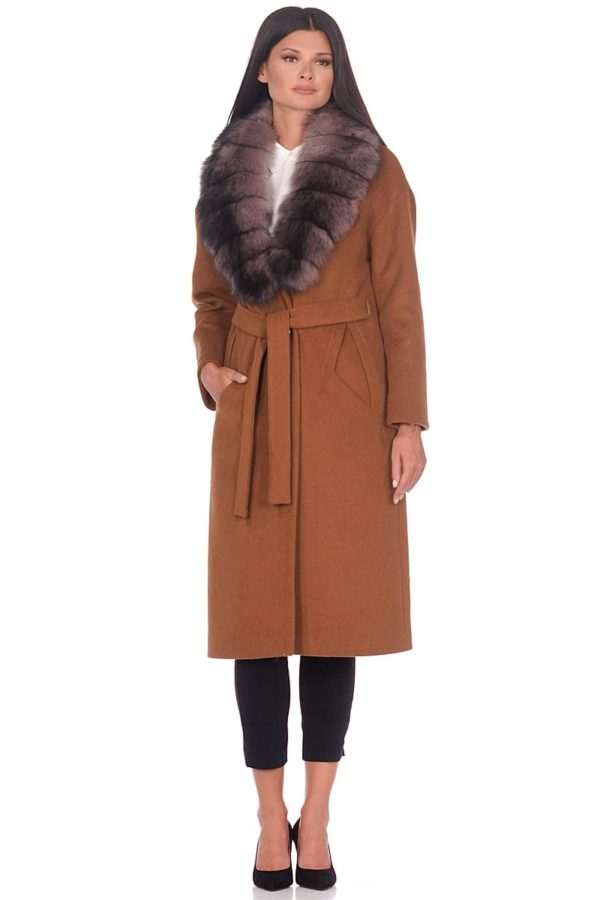 Женское зимнее пальто hr-1013 горчичное фото-1