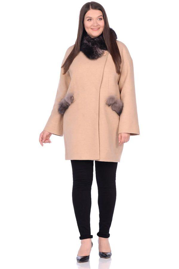 Женское зимнее пальто hr-1014 бежевое фото-1