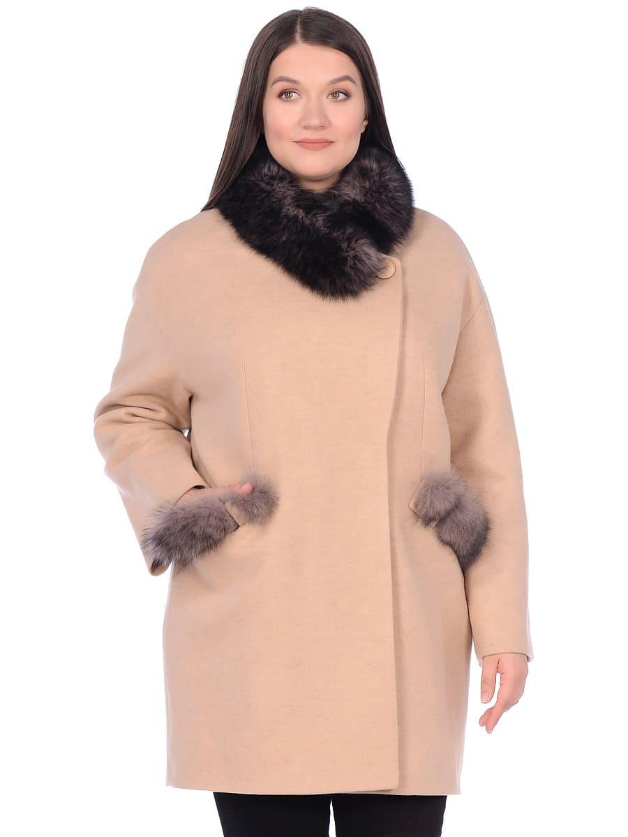 Женское зимнее пальто hr-1014 бежевое фото-2