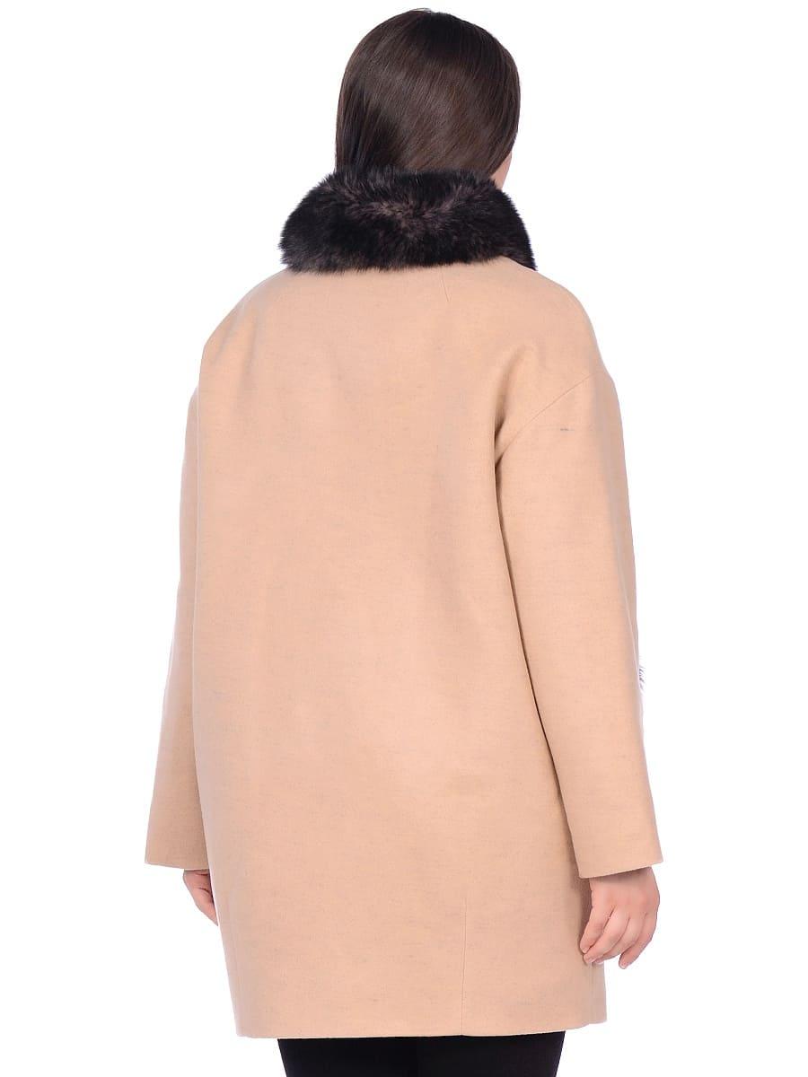 Женское зимнее пальто hr-1014 бежевое фото-3