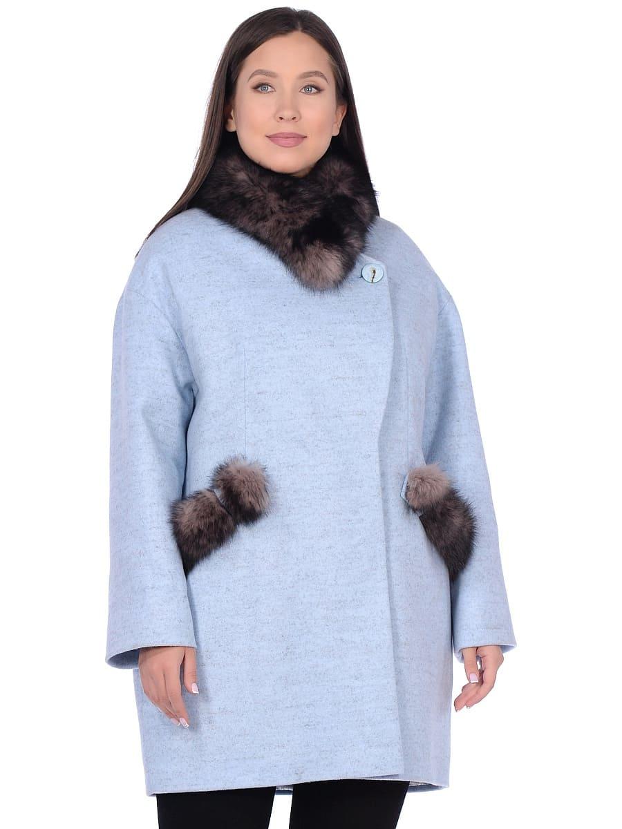 Женское зимнее пальто hr-1014 голубое фото-2