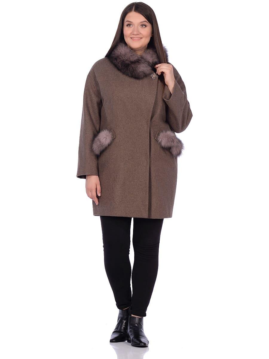 Женское зимнее пальто hr-1014 коричневое фото-1