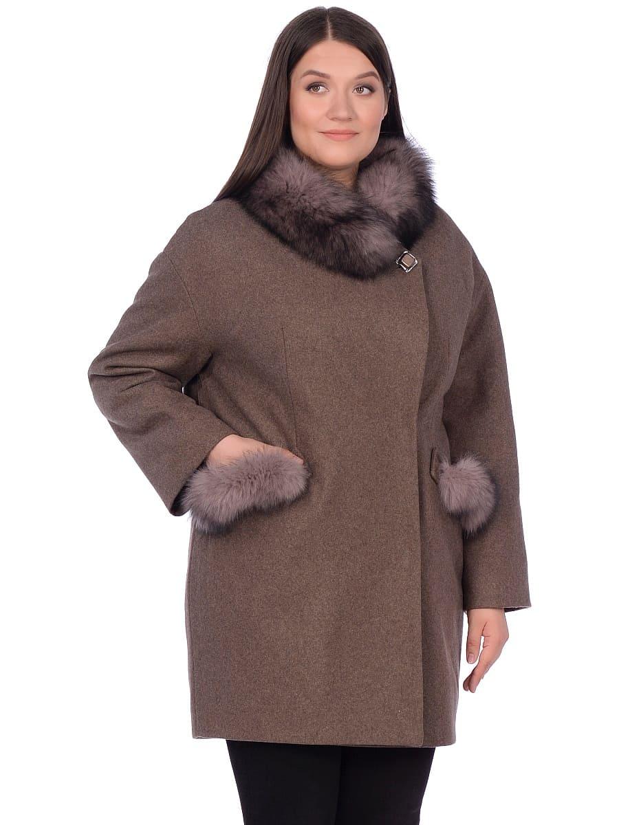 Женское зимнее пальто hr-1014 коричневое фото-2