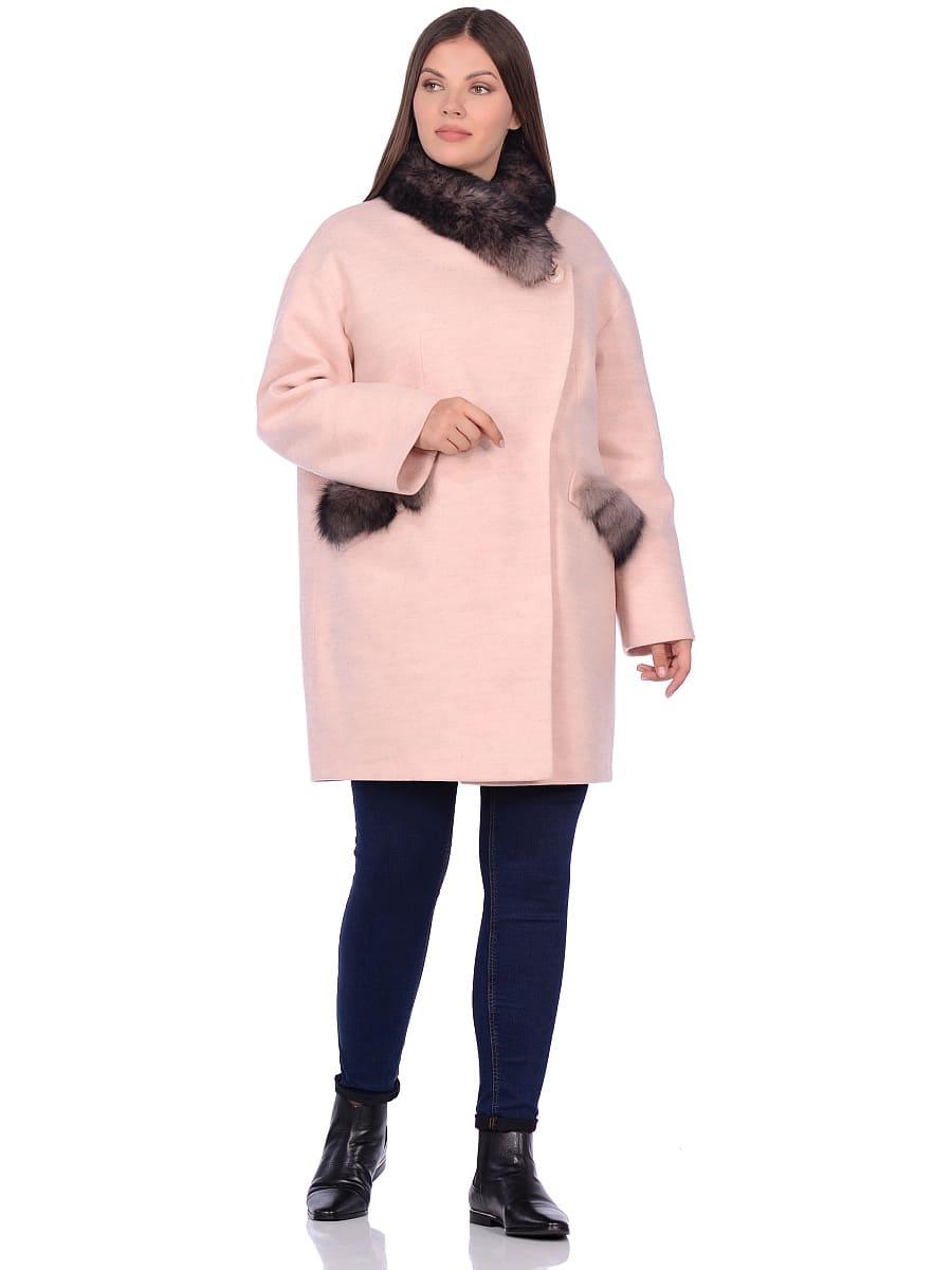 Женское зимнее пальто hr-1014 розовое фото-1