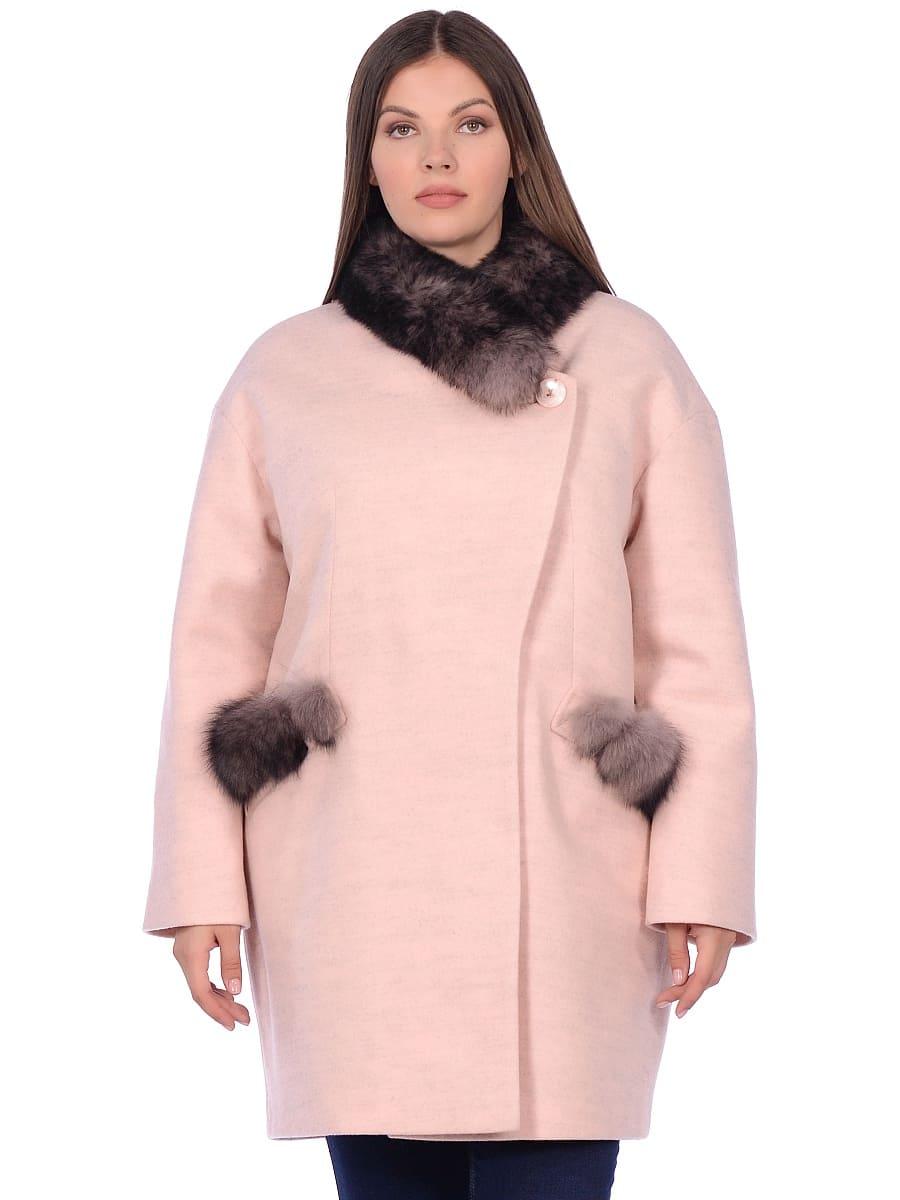 Женское зимнее пальто hr-1014 розовое фото-2