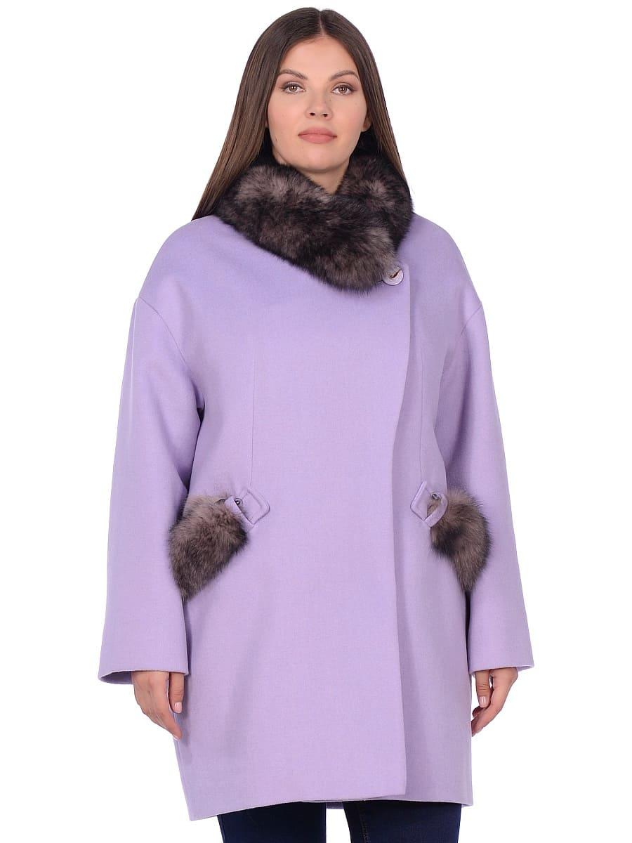 Женское зимнее пальто hr-1014 сиреневое фото-2