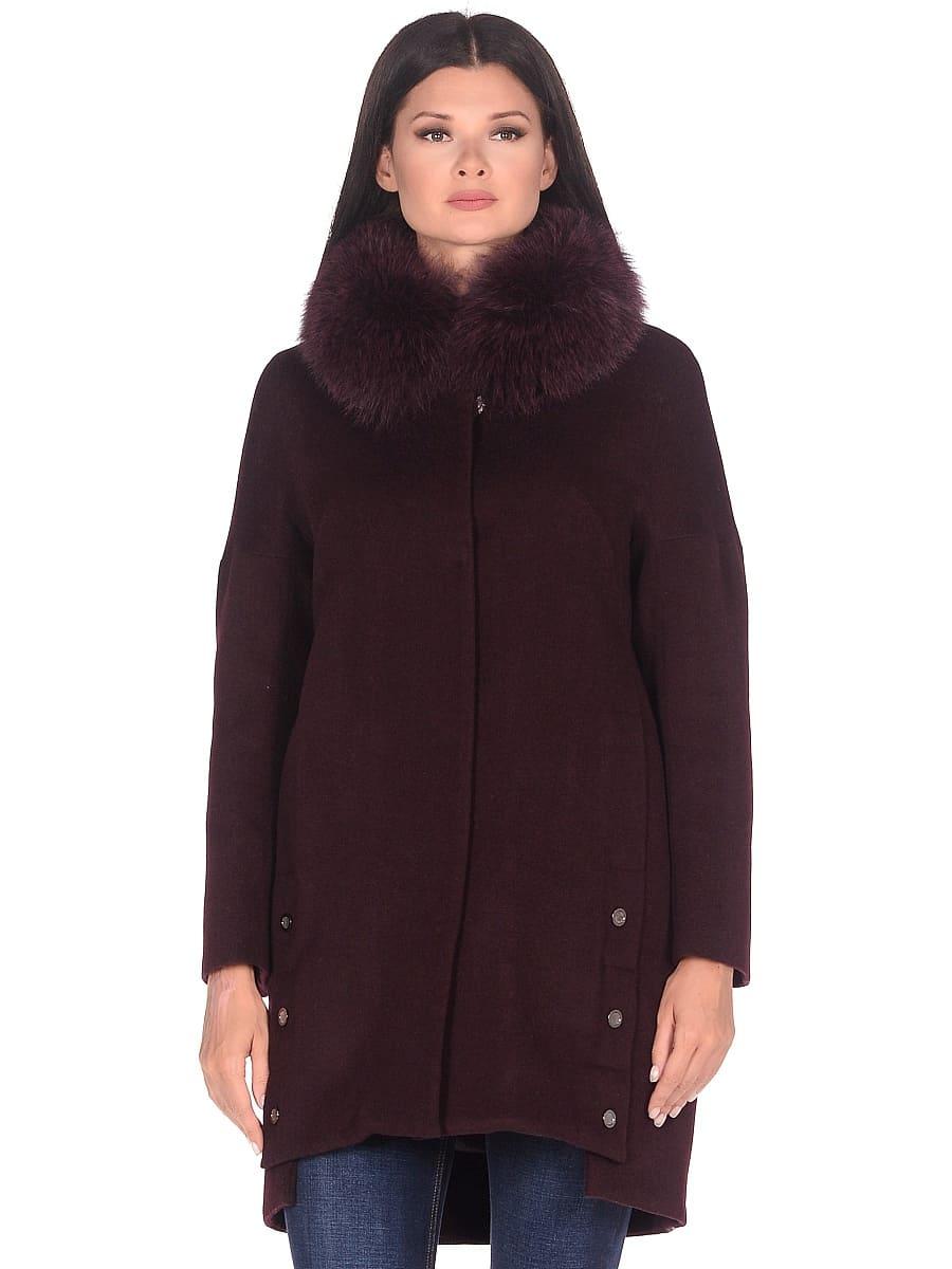 Женское зимнее пальто hr-1016 бордовое фото-2