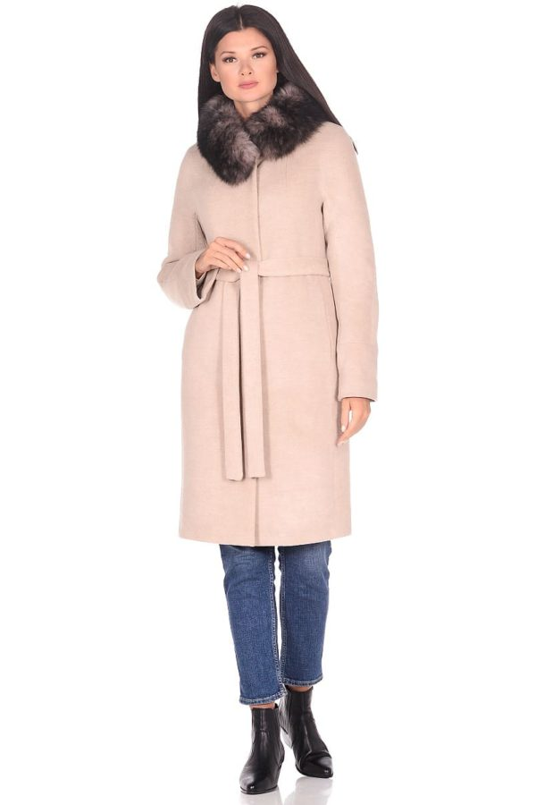 Женское зимнее пальто hr-1018 бежевое фото-1