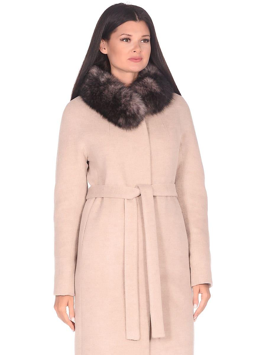 Женское зимнее пальто hr-1018 бежевое фото-2