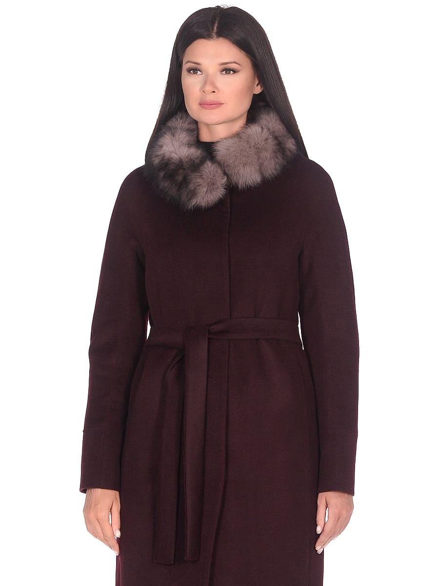 Женское зимнее пальто hr-1018 бордовое фото-2