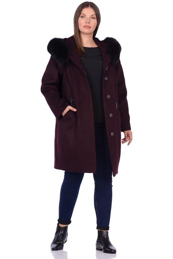 Женское зимнее пальто hr-1019 бордовое фото-1