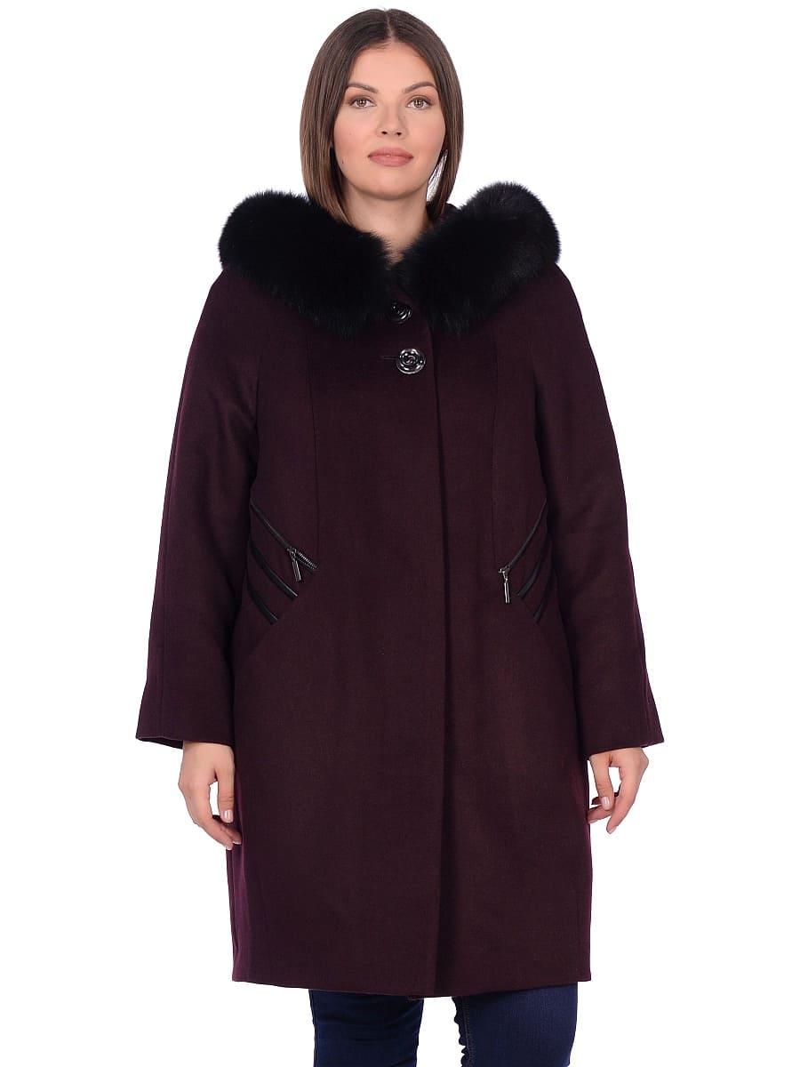 Женское зимнее пальто hr-1019 бордовое фото-2