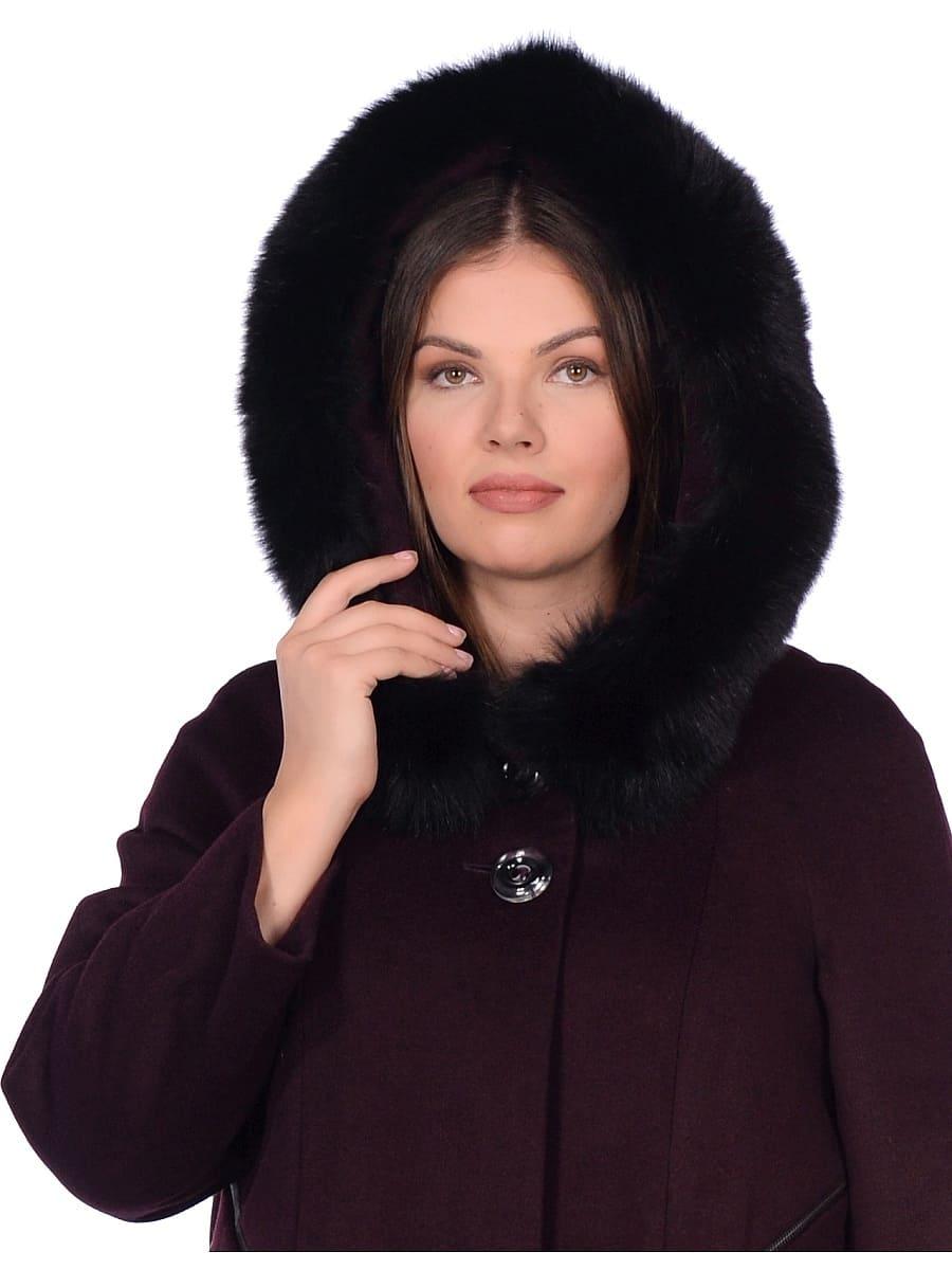 Женское зимнее пальто hr-1019 бордовое фото-4