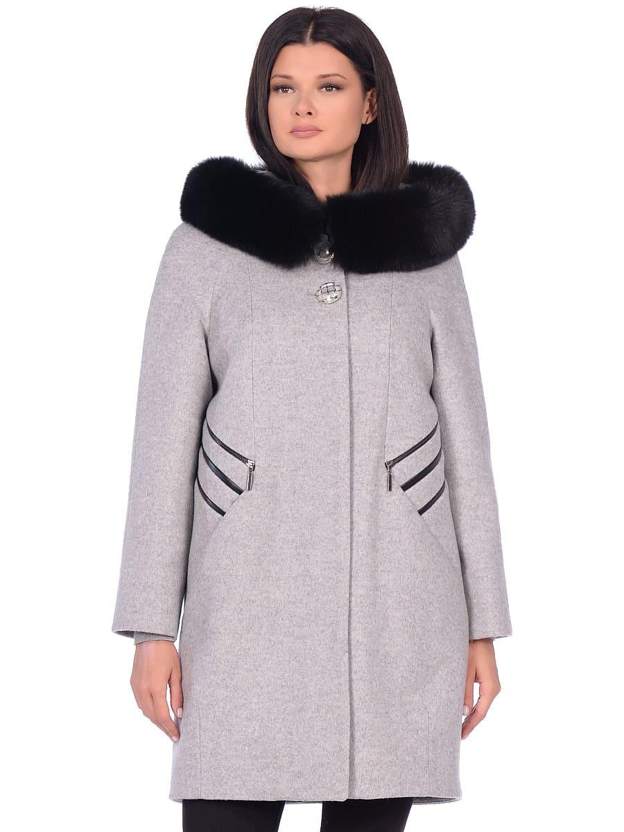 Женское зимнее пальто hr-1019 светло-серое фото-2